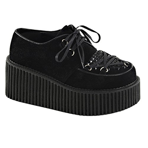 Womens Black Shoes Vegan Suede Creepers Shoes Lace Up Black Studs 3 In Platform Size: 11