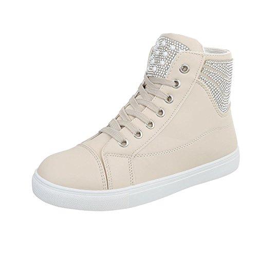 Ital-Design Sneakers High Damenschuhe High-Top Sneakers Schnürsenkel Freizeitschuhe Beige