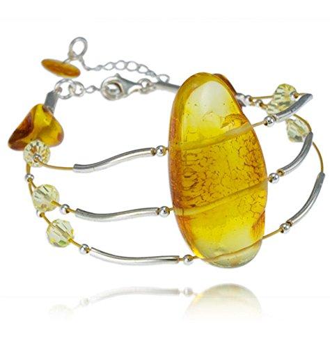 Silver Amber Bracelet, Baltic Amber-Cognac Amber, Crystal Wire Bracelet