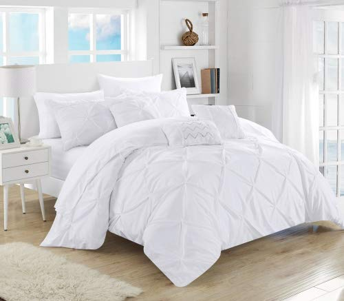 annah Pinch Pleated, ruffled and pleated complete Queen Bed In a Bag Comforter Set White With sheet set ()