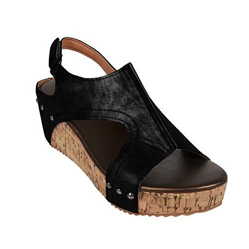 e9bcd884f777 Syktkmx Womens Cutout Open Toe Platform Wedges Slingback Ankle Strap Cork Heeled  Sandals