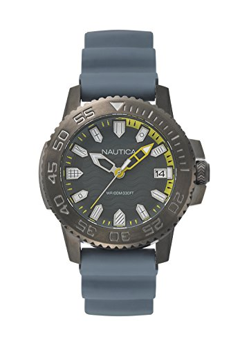Nautica Men's Keywest Stainless Steel Japanese-Quartz Watch with Silicone Strap, Grey, 22 (Model: NAPKYW004)