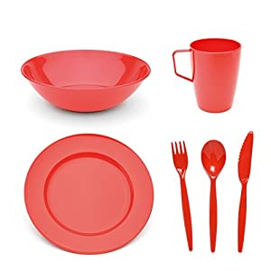 Harfield Scout and Girl Guide HQ Polycarbonate Red Tableware Set – Plate, Bowl, Mug & Cutlery