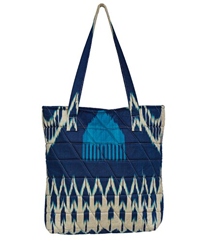Fedelkea Women's Designer Handbag Ikat Signature Printing Bag with Zipper (Blue & White) (Recycled Weekend Bag)