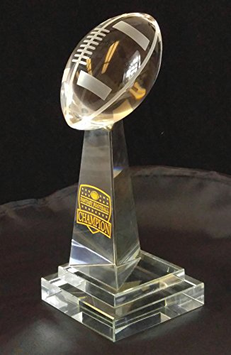 Clear Fantasy Football Tower Crystal Award - With Engraved and Gold Color Filled FFL League Champion Shield - Decade Awards (Crystal Clear Football)