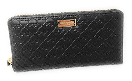 Kate Spade New York Neda Penn Place Embossed Leather Zip Around Continental Wallet Black -