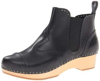 swedish hasbeens Women's Chelsea Debutant Boot,Black/Nature,6 M US