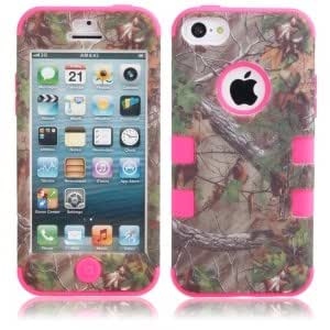 3-in-1 Tree Branch Pattern Protective Case for iPhone 5C Rose Red