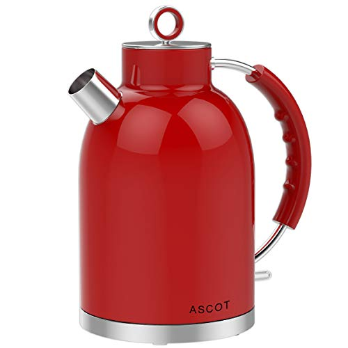 Electric Kettle, ASCOT Stainless Steel Electric Tea Kettle, 1.7QT, 1500W, BPA-Free, Cordless, Automatic Shutoff, Fast Boiling Water Heater – Red