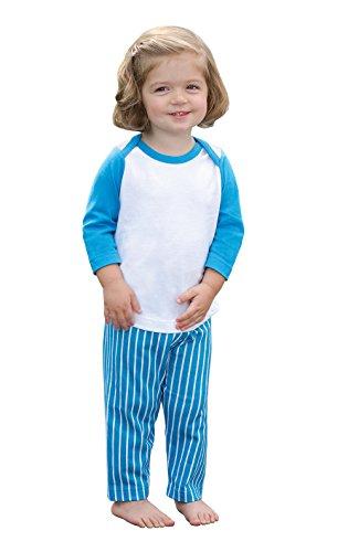 PajamaGram Cotton Toddler Pajamas - Raglan Style Top and Striped Pants, Blue, 2T by PajamaGram