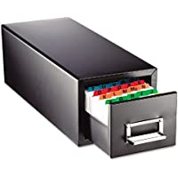 SteelMaster 263F5816SBLA Drawer Card Cabinet Holds 1,500 5 x 8 cards, 9 7/16 x 16 x 7 1/2