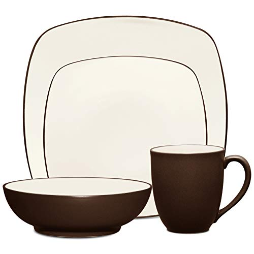 Noritake 4-Piece Square Place Dinnerware Setting in Brown/Chocolate