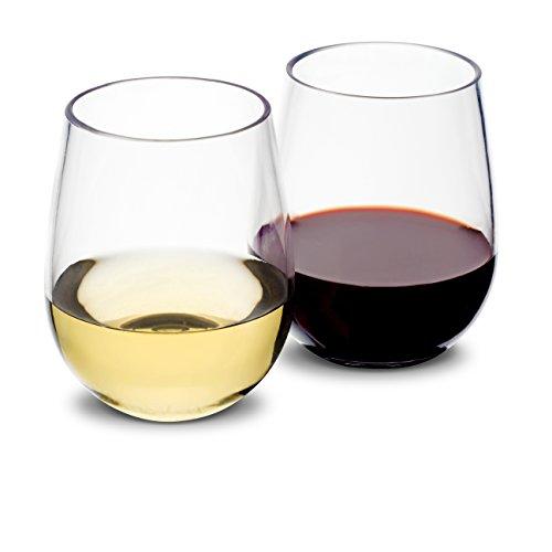 Vinosimo Unbreakable Stemless Wine Glasses | 100% Tritan Plastic Shatterproof Dishwasher-Safe Glassware | BPA-Free | Set Of 4 | 16oz | 2 BONUSES: Corkscrew + E-Book | Ideal for Indoor/Outdoor (Small Plastic Wine Glasses)