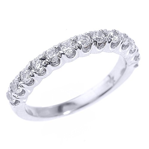 Solid 14k White Gold Stackable Diamond Wedding Band Size 9.25)