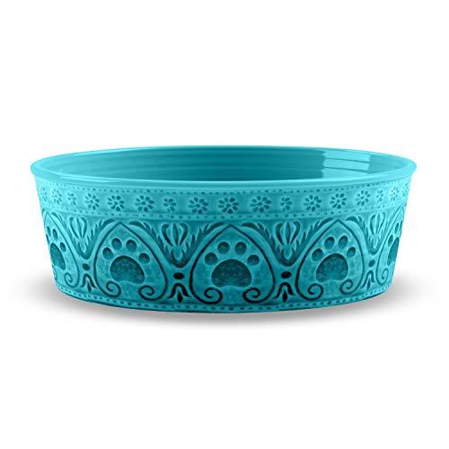 - TarHong Medallion Paw Print Pet Bowl Teal - Medium