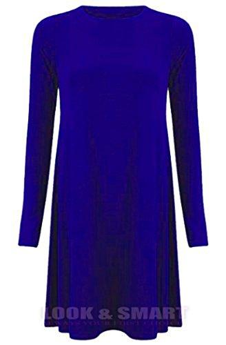 NEUE Frauen Damen Swing für Einzelbox Dress santa Weihnachtsbaum Pinguin Schneemann Weihnachten Swing-Kleid Königsblau (Royal Blue) FTUmdJG6