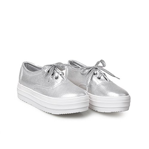 Women's Pumps Solid Heels Lace Shoes up VogueZone009 Closed Low Toe Silver Round paAawR
