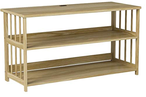Stony-Edge FTVS-42-NA  42 inch TV Stand, Bookshelf, Media Storage Cabinet with USB Port, Natural Wood
