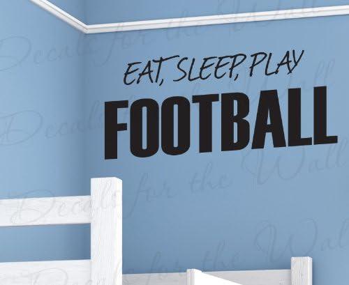 EAT SLEEP PLAY FOOTBALL WALL ART STICKER QUOTE DECAL BOYS BEDROOM DECOR