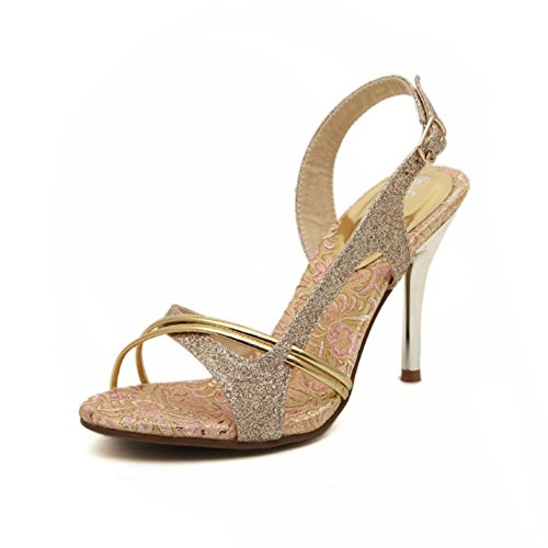 High Heeled Open Toed (Summer fashion open-toed sandals/High-heeled shoes/Ms. fine with sandals-A Foot length=22.8CM(9Inch))