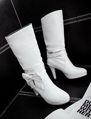 Eu38 5 Casual La Uk5 Zapatos White Mujer Stiletto Blanco De negro Xzz us6 Uk4 Uk5 Eu37 Tacón Botas Semicuero Redonda Punta Cuñas A Black 5 5 Cn38 5 Cn37 5 Vestido 7 Moda us7 qRHwvO1w