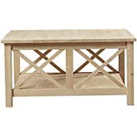 Rectangular Walden Wood Top Shelf Storage Coffee Table Living Room End Furniture