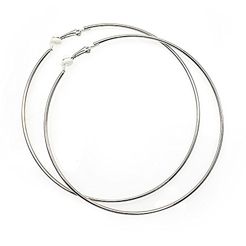 Extra Large Non Pierced Earrings for Women Men - Big Round Circle Clip On Huggie Hoop Earrings Hypoallergenic