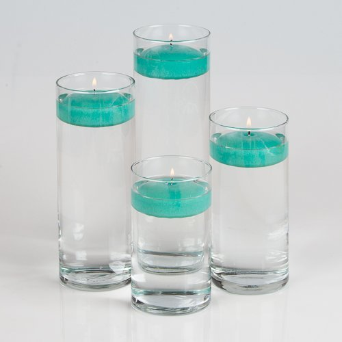 Aqua Floating Candles (Set of 4 Eastland Cylinder Vases and 4 Richland Floating Candles 3