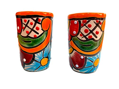 1800 Tequila Reposado - Colorful Mexican Shot Glasses, Hand-painted in Mexico - Great for Tequila, Mezcal and Sangrita, 2 oz set of 2 - Tequilero Multicolor