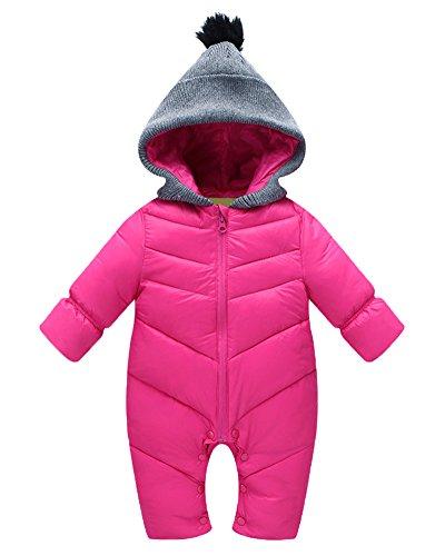 Unisex Baby Winteroverall Kinder Schneeanzug Cardigan Mit Kapuze Rose M