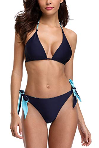 - Vegatos Women Two Piece Halter Bikini Reversible String Bikini Swimsuit Navy XL
