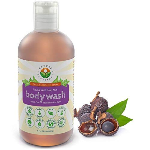 Organic Soapberry Body Wash by Nature Sustained - Natural Acne Body Wash With Raw And Wild Plants for Sensitive And Dry Skin - Probiotics Shower Gel - Hypoallergenic And pH Balance - 9 Oz.