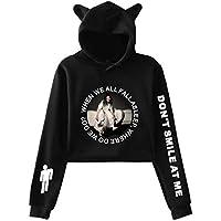 Billie Eilish fashion printed bunny ears Women hoodie Casual Long Sleeve crop top sexy Hoodie Hip Hop Sweatshirt