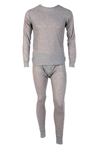 - Men's Two Piece Long Johns Thermal Underwear Set-Medium-Light Grey