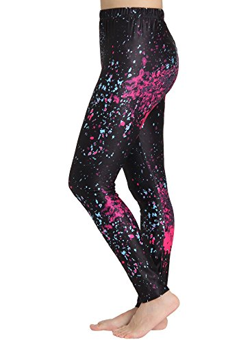 JustinCostume Women's 80's Neon Paint Splatter Leggings Splatter M/L (The 80s Outfits)