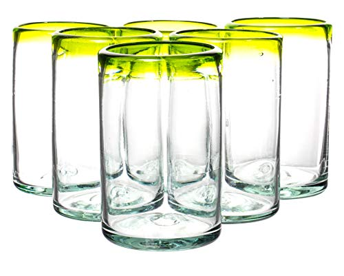 Set of 6 Lime Green Rim Hiball Drinking Glasses, Unique Recycled Handmade Eco Friendly Glassware, 16 fl oz]()