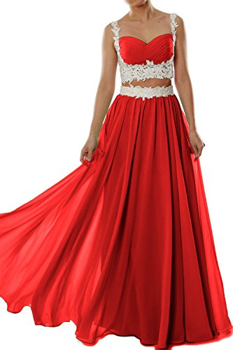MACloth Women Two 2 Piece Lace Chiffon Long Prom Dress Formal Party Evening Gown Rojo
