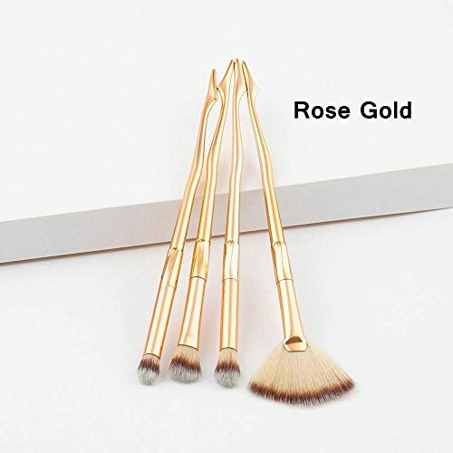 4Pcs Makeup Brushes Eye Shadow Blush Powder Foundation Cosmetic Tool (Model - Rose Gold 4 ()