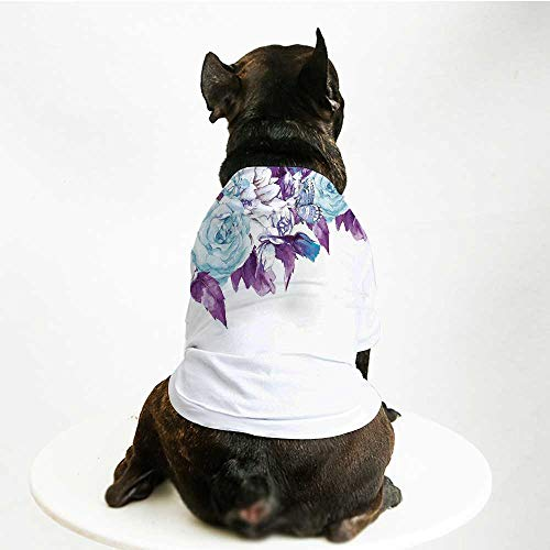 (YOLIYANA Floral Breathable Pet Suit,Vintage Classic Flower Petals Bridal Wedding Romance Shabby Chic Design Art for Small Dog Teddy Chihuahua Bichon,L)