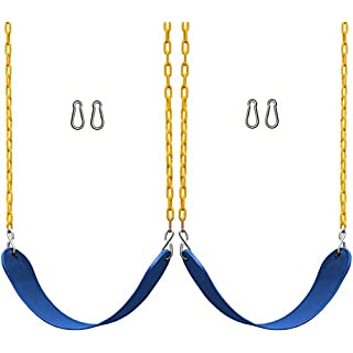 "Jungle Gym Kingdom 2 Pack Swings Seats Heavy Duty 66"" Chain Plastic Coated - Playground Swing Set Accessories Replacement Snap Hooks (Blue)"