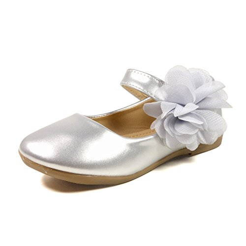 (Nova Utopia Toddler Little Girls Flower Girl Dress Ballet Mary Jane Bow Flat Shoes,NF Utopia Girl NFGF061New Silver)