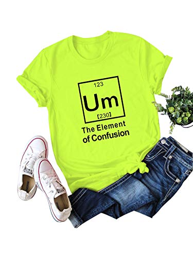 SheIn Women's Summer Short Sleeve Letter Print Casual Tee T-Shirt Neon Green XL]()