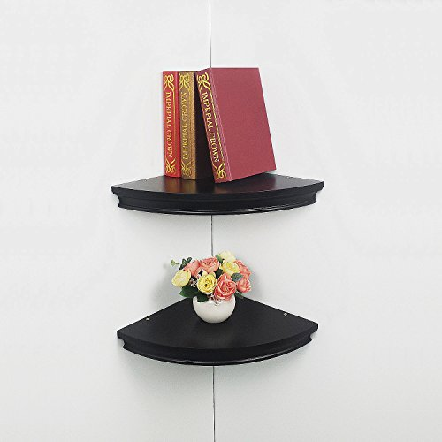"Classic Black Wall Bracket (HAO Set of 2 Classic Radial Corner Wall Shelf Contoured Shelving MDF Floating Corner Shelves Approx.12"" Black)"