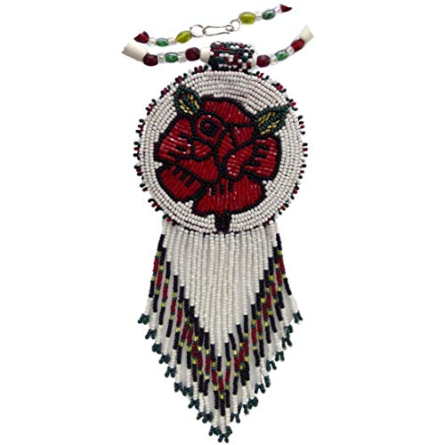 Native Style Beaded Necklace Earrings Set with Large Medallion Rose Pendant (Red White Rose)