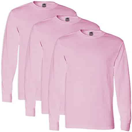 8fa96365ac9d FoTL 4930 Mens Heavy Cotton Long-Sleeve Tee XL Classic Pink - 3 Pack