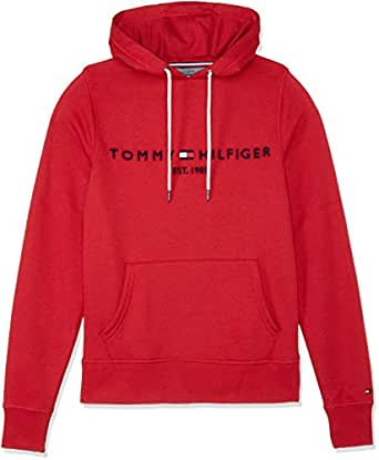TOMMY HILFIGER Men's Drawstring Logo Hoodie, Haute Red, X-Small