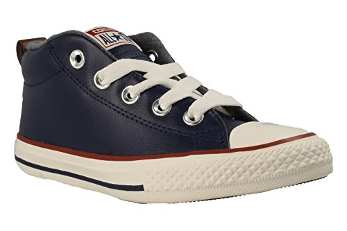 Converse Kids Chuck Taylor All Star Mid Top Leather Sneakers (Midnight Navy)
