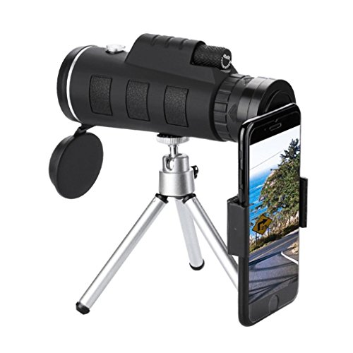 YRD Tech for Universal Phone Monocular Telescope-Zoom Optical HD Lens,Resistance to Shock,Zoom Optical HD Lens,BAK4 Prism & FMC,Oversized Eyepiece with Tripod and Clip (Black A, 40x60) by YRD TECH