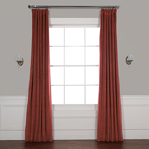 HPD Half Price Drapes VPCH-180105-96 Signature Blackout Velvet Curtain, 50 X 96, Crimson Rust