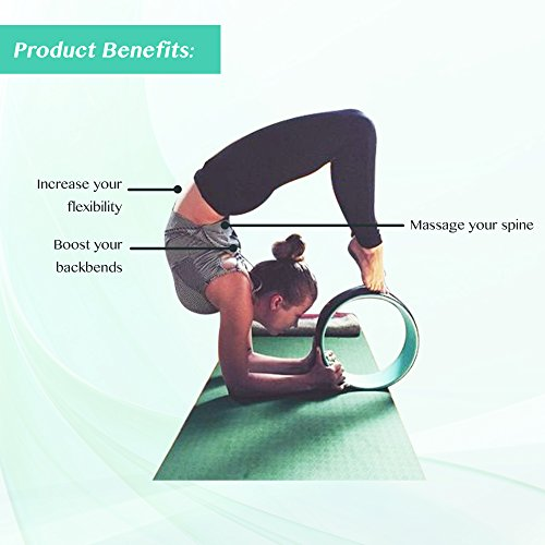 Ultimate Dharma Yoga Wheel Prop with BONUS eBook & FREE Extra Yoga Strap By Pete's Choice – Superior Quality PC Material, Comfortable & Durable Yoga Balance Accessory, Increase Precision & Flexibility